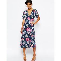 ASOS Floral Midi Tea Dress (170 MYR) ❤ liked on Polyvore featuring dresses, multi, floral midi dress, midi dress, long-sleeve midi dresses, asos dresses and white v neck dress