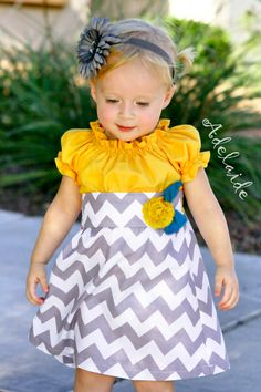 LOVE LOVE LOVE combination of yellow & grey!!!!  <3   Elizabeth... Adelaide Original 6mo to 6yrs. $46.00, via Etsy.