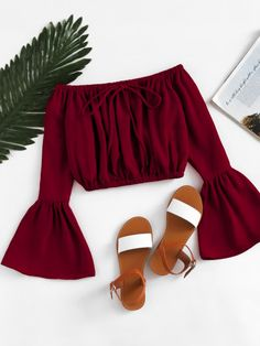 croptop red Shop Off Shoulder Fluted Sleeve Drawstring Crop Top online. SheIn offers Off Shoulder Fluted Sleeve Drawstring Crop Top amp; more to fit your fashionable needs. Crop Top Outfits, Trendy Outfits, Summer Outfits, Girl Outfits, Cute Outfits, Fashion Outfits, Womens Fashion, Fashion Trends, Fast Fashion