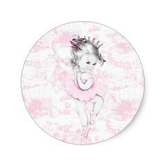 Vintage Pink Ballerina Princess Baby Shower Stickers