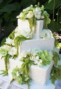 #Weddingcakes square with cascading white & green flowers ToniK Pâtisserie