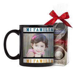 Mi Familia Mi Vida Mi Felicidad Mug, Black, with Ghirardelli Premium Hot Cocoa, 11 oz, White