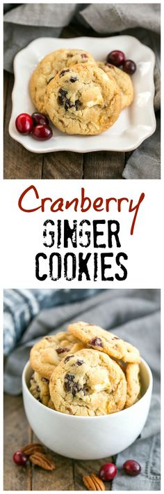 Cranberry, White Chocolate, Crystallized Ginger Cookies AKA Cranberry Bliss Cookies - A star studded cookie that's perfect for the holidays and all year long! Best Cookie Recipes, Best Dessert Recipes, Fun Desserts, Sweet Recipes, Holiday Recipes, Delicious Desserts, Cranberry Recipes, Homemade Cookies, Homemade Desserts