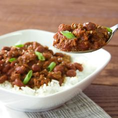 Liven up basic chili with the flavors of Korean BBQ – soy sauce, rice vinegar, garlic, ginger and ground red pepper. For authentic Korean flavor, see tip for making chili with Korean pepper paste (Gochujang).