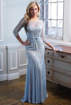 Chiffon Sequins long sleeve Light Sky Blue Evening Dress $117.98