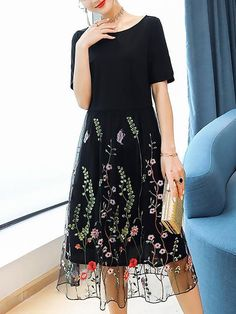 Buy Midi Dress For Women from Fantasyou at Stylewe. Online Shopping Stylewe Plus Size Black Crew Neck A-line Date Dress Short Sleeve Casual Embroidered Floral Dress, The Best Beach,Date,Daytime Midi Dress. Discover unique designers fashion at stylewe.com.