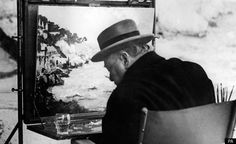 New Exhibition Of Winston Churchill Paintings Reveals Relationship With Famous Moroccan Artist  ;   Churchill painting on holiday in 1949