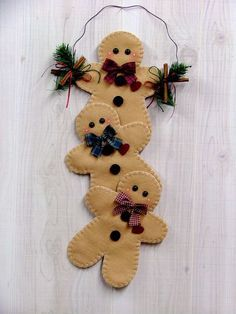 Felt gingerbread Cookies               biscoitos de gengibre em feltro