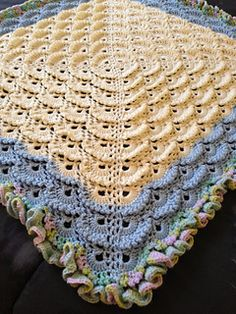 Fluffy Meringue Blanket - Pattns Free Pattern -  Working on the border: I did row 17. Instead of V-stitch at the corner, I used chain 3 Next round: SC in every chain 3 space - t...