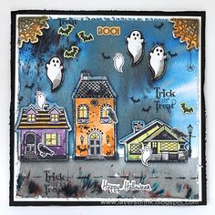 Layers of ink - Friendly Ghosts by Anna-Karin. Made with Sizzix dies by Rachel Bright, and Brusho crystals.