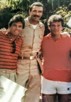(From L to R) Larry Manetti, Tom Selleck & Michael Spilotro on the set of the hit TV show, Magnum PI. (Ross Stanger) (Photo Compliments Of Joe Celozzi).