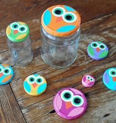 Owl Craft Using Recycled Jar Lids from Amanda Formaro of Crafts by Amanda Crafts For Kids To Make, Kids Crafts, Art For Kids, Diy And Crafts, Arts And Crafts, Easy Crafts, Jar Lid Crafts, Mason Jar Crafts, Felt Owls