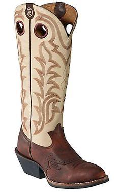 "My baby's weddin boots....Tony Lama® 3R™ Mens Sienna Maverick Brown w/ 16"" IvoryTop Round Toe Buckaroo Boots | Cavender's Boot City"