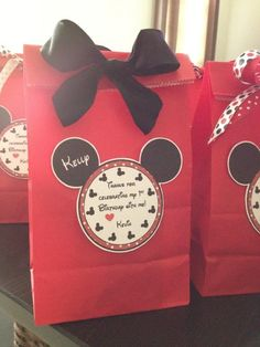 mickey mouse birthday goody bags | Mickey Mouse favor bags, printed the tags from ... | 1st Birthday Par ...