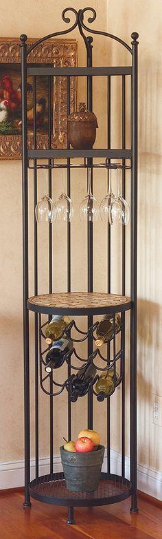 Iron Forged Corner Bar w Wine Rack & Glass Storage