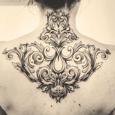 Ornemental and baroque tattoo Lyon,France Tattoo Nape, Tattoo On, Head Tattoos, Body Art Tattoos, Small Tattoos, Sleeve Tattoos, Henna, Mehndi, Gotik Tattoo