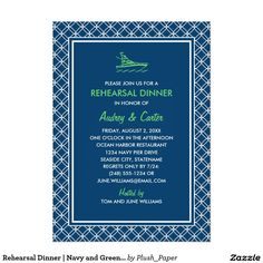 Rehearsal Dinner | Navy and Green Nautical Theme