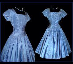 Vintage 1950s Dress  .  Blue Designer XS Full Circle Ballerina Mad Men Cupcake Garden Party Prom Pinup Rockabilly Femme Fatale Shelf Bust by VintageDiva60 on Etsy https://www.etsy.com/listing/84840508/vintage-1950s-dress-blue-designer-xs