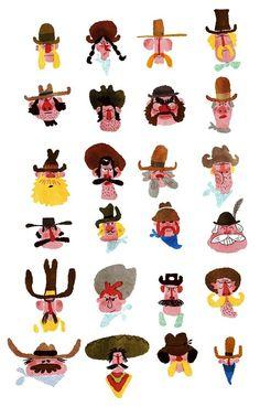 cowboy character design, thierri bedouet, illustrations, cow boys, charact design, art, inspir, cowboy illustration, print