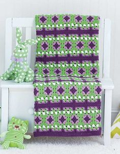 Granny Square Baby Afghans - Accented with texture-rich stitches, the designs in Granny Square Baby Afghans take on a modern look that's just right for the nursery in bright, playful colors. Seven crochet designs by Carol Holding for medium weight yarn include Flowered Path, Playful Stripes, Berry Sweet, Blue Sky Blocks, Sunshine, Carnival, and All-American Baby.