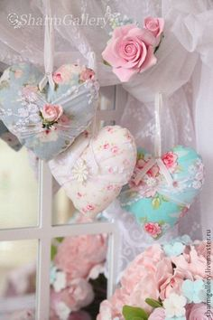 Shabby Chic Sew Fabric Hearts