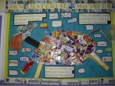 I love this idea for a bulletin board about objects and materials. This class…