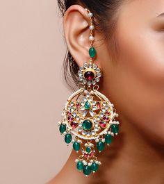 Green & Golden Embellished Earrings