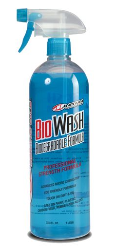 MAXIMA BIO WASH is a unique, 100% biodegradable all-purpose cleaner. Fast-acting cleaning agents lift away dirt while scrubbing grime and oil based deposits. Specially engineered surfactants, lower surface tension allowing better penetration and wetting of soils. Tough on dirt, yet gentle enough to use on delicate surfaces including paint, plastic, chrome, anodizing, rubber, carbon fiber and almost anything you throw at it. Safely and easily clean your equipment. Advanced micro chemistry…