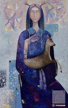 WOMAN WITH FAWN, ZAYA (aka Zayasaikhan Sambuu; b1975, small and isolated town in Gobi Desert, Western Mongolia)