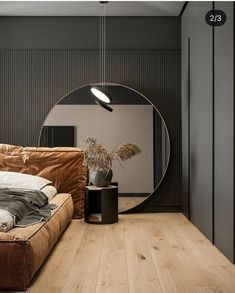 Stunning Modern Home Designs Under 70 Sqm Four small apartments under 70 square metres. Featuring bright decor accents and gypsum panels for zoning, and clever furniture layouts for small spaces. Bedroom Bed Design, Modern Bedroom Design, Modern House Design, Home Bedroom, Home Interior Design, Interior Architecture, Bedroom Decor, Master Bedroom, Bedroom Shelves