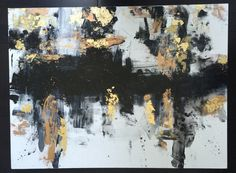 Abstract black gold and white LARGE acrylic by MudroomMasterpieces