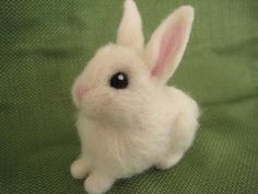 Needle Felted Rabbit  Miniature White Baby Bunny by minifeet
