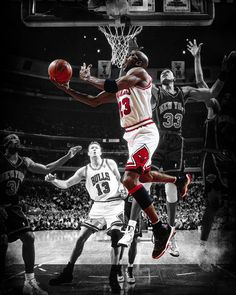 This iconic photo art piece captures the Chicago Bulls Michael Jordan as he executes a reverse layup in traffic against the Knicks in the 1996 NBA Eastern Conference Finals.