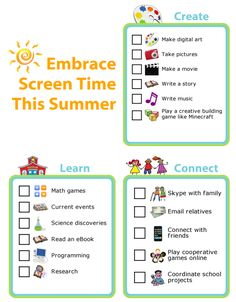 Kids asking for screen time? Surprise them and say YES! They can pick from any of these great activities. You can also edit these lists to make them just right for your family. Kids Schedule, Summer Schedule, After School Checklist, Sources Of Stress, Game Programming, After School Club, Effective Communication, Blog Writing, Read News