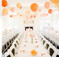 Orange Paper Lanterns- think soft clementine hued elegance. photo by: Think Photographics Orange Wedding Reception Reception Table, Wedding Reception Decorations, Wedding Themes, Wedding Colors, Our Wedding, Wedding Ideas, Wedding Inspiration, Banquet Decorations, Wedding Lanterns
