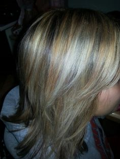 Multidimensional highlights, different shades of blonde on brunette hair.
