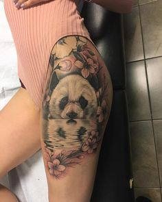 Wonderful Panda and Plum Blossom Hip to Thigh Tattoo
