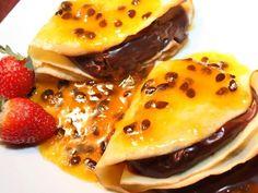 Crepe de chocolate e maracujá