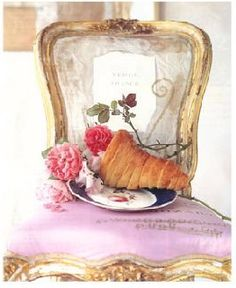 Carolyn Quartermaine, baguette, flowers, ornate pink and gold chair
