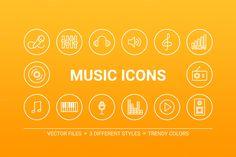 Circle music icons by miumiu on Creative Market