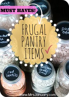 Frugal Pantry Items You Should Have via MrsJanuary.com - If you cook at home, you should make sure to always have these frugal pantry items on hand because they are some of most frugal food options available!