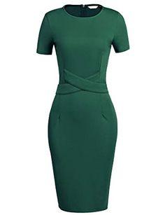 Zeagoo Women's Audrey Hepburn Style Short Sleeve Belt Waist Cocktail Tea Dress Dark Green L Elegant Outfit, Classy Dress, Classy Outfits, Elegant Dresses, Nice Dresses, Casual Dresses, Dresses For Work, Office Dresses For Women, Clothes For Women