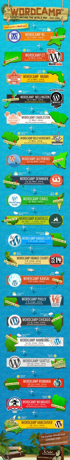 WordPress communities are growing exponentially and WordCamps are playing a vital role in this growth. Many influencers around the world are attending these conferences and sharing their views on the updates, plugins, themes, future of WordPress vice versa. See this infograph to follow the WordCamps for next three months and stay updated.
