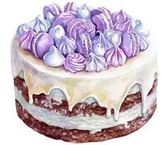 Beautiful watercolor cake is waiting for you! Cake Illustration, Food Illustrations, Watercolor Illustration, Cake Drawing, Food Drawing, Watercolor Cake, Watercolor Paintings, Watercolor Drawing, Cake Sketch