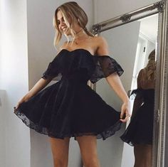A-Line Off-the-Shoulder Short Black Organza Homecoming Dress with Appliques