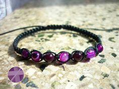 Shamballa bracelet, Purple agate bracelet, Adjustable, Tiny bracelet, Beaded bracelet, Healing and protection, Jewellery for luck Thread Bracelets, Black Bracelets, Macrame Bracelets, Gemstone Bracelets, Shambala Bracelet, Purple Agate, Amethyst Bracelet, Macrame Jewelry, Agate Beads