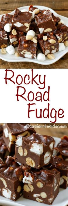Rocky Road Fudge is a kid and adult favorite every year! get the recipe at barefeetinthekitchen.com