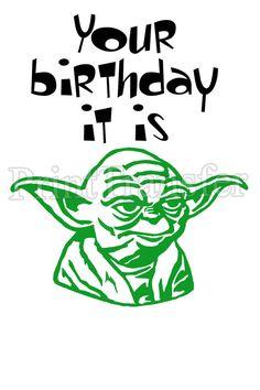 Yoda birthday card Personalized Birthday Card by PrintTransfer