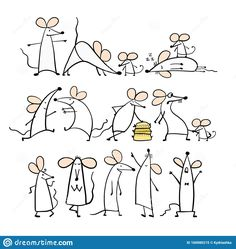 Funny White Mouse Family, Symbol Of 2020 Year. Banner For Your Design Stock Vector – Illustration of funny, festival: 160080215 – Animal Kingdom Doodle Drawings, Doodle Art, Easy Drawings, Animal Drawings, Drawing Lessons, Art Lessons, Maus Illustration, Funny Illustration, Family Symbol