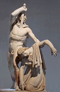 Ancient Roman sculpture, Ludovisi Gaul and his wife, ca. 220 BC.